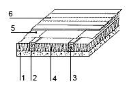 Рис. 1. Утепления перекрытия подвала: 1. плита перекрытия, 2. прокладка из рубероида или гидроизола, 3. деревянная лага, 4. утеплитель, 5. пароизоляционный материал; 6. половые доски или основание пола