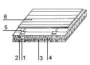 Рис. 4. Утепление балочного перекрытия: 1. деревянная балка; 2. черепной брусок; 3. щиты наката; 4. утеплитель; 5. пароизоляционный материал; 6. деревянные доски или основание пола
