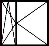 Окно с двумя поворотными створками, одна из которых (узкая) поворотно-откидная