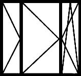 Окно трёхстворчатое с узкими боковыми и широкой средней створками; все створки открывающиеся, две из них — поворотные