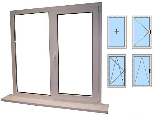 Условные обозначения типов пластиковых окон (слева направо сверху вниз: глухое, поворотное, поворотно-откидное, откидное)