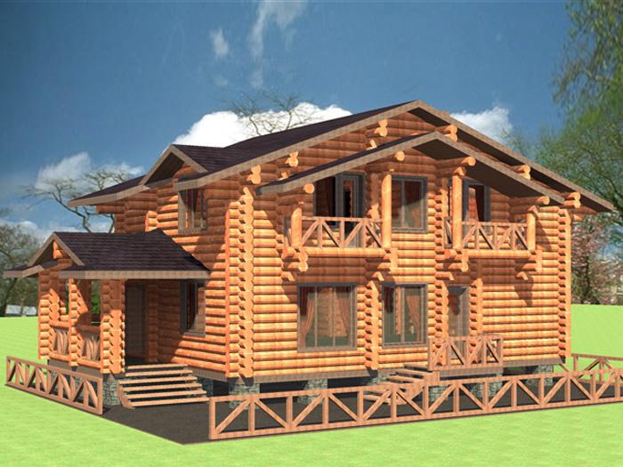 Визуализация проекта деревянного коттеджа