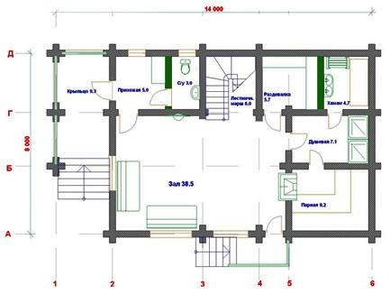 Поэтажный план деревянного дома из сруба