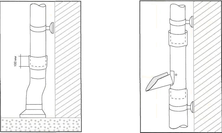 Рис. 14. Установка переходного элемента водосборника. Рис. 15. Установка отвода в бочку