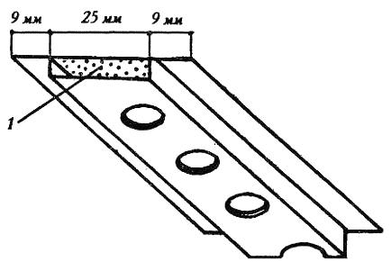 Рис. 2. Акустический профиль кнауф из перфорированной стали (1 – звукопоглощающая прокладка)