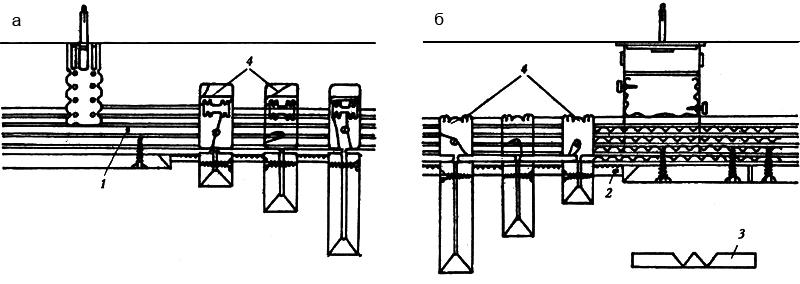 Рис. 3. Ступенчатый потолок из ламелей а. вращающийся анкерный угол прикручен на СД-профиле шурупами LN 3,5х9 мм; б. вращающийся анкерный угол загибается на СД-профиле; 1. СД 60х70 – несущий профиль; 2. акустический профиль перфорированной стали; 3. развертка с вертикаль-ламелью; 4. крепление