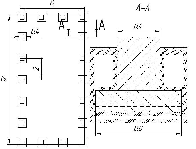 Рис. 3. План и сечение столбчатого фундамента дома