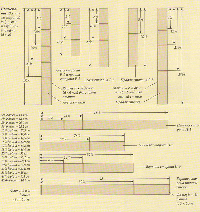 Разметка пазов деревянного стеллажа