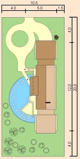 Вариант размещения дома у боковой границы узкого участка считается самым функциональным и рациональным