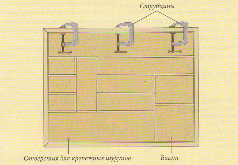 Крепление багета деревянного стеллажа