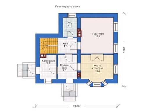Планировочное решение 1-го этажа дома по готовому проекту