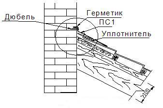 Рис. 10. Место примыкания кровли из металлочерепицы к стене
