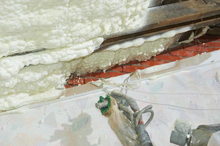 Процесс напыления теплоизоляции Экотермикс
