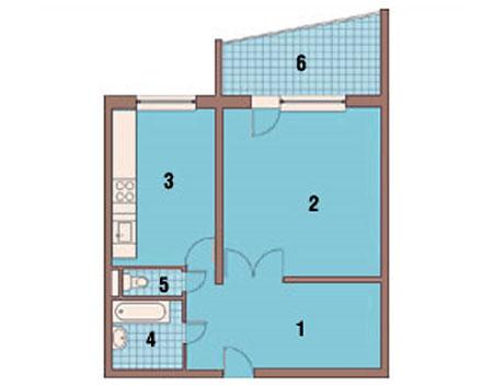 Перепланировка 2 х комнатной квартиры серии П44 - ГСПСРУ