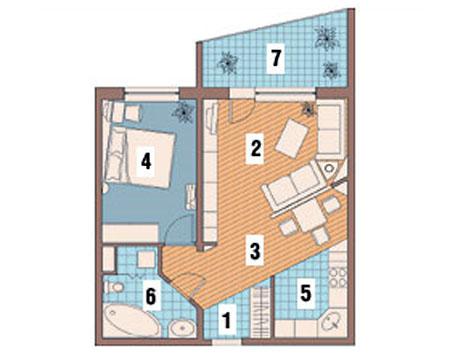 Перепланировка №2 двухкомнатной квартиры И-209А, схема
