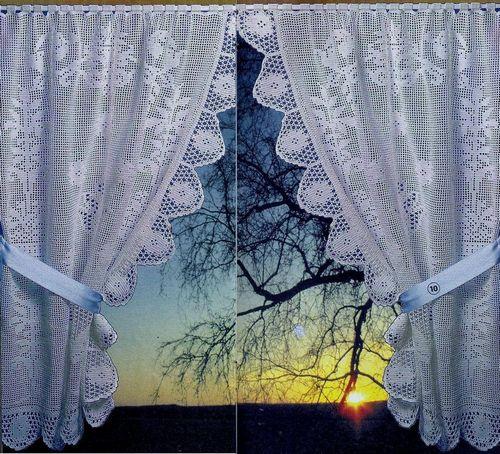 вязанные шторы в интерьере 52 фото схемы вязанных штор крючком